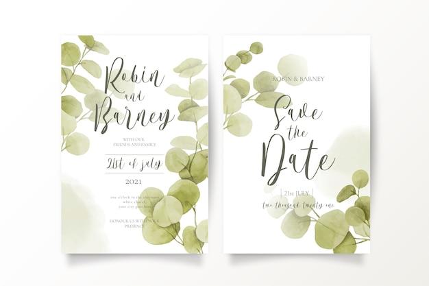 Сохраните шаблоны приглашения даты с листьями эвкалипта