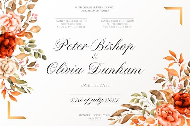 Свадебная открытка с золотой рамкой и винтажной природой