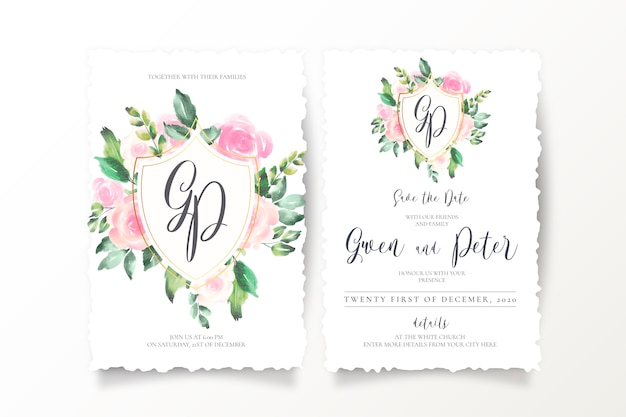 エンブレムとモノグラムの花の結婚式の招待状