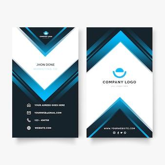 青い形のモダンな縦型ビジネスカード