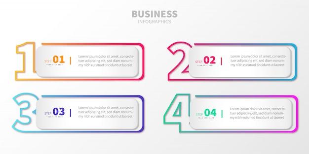 番号付きのカラフルなステップビジネスインフォグラフィック
