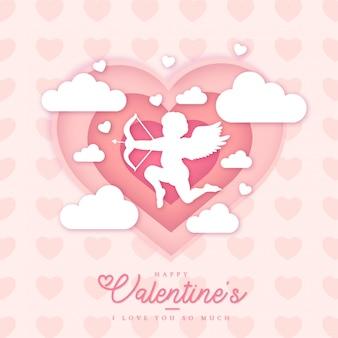 美しい幸せなバレンタインカードテンプレート