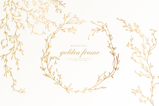 Красивая золотая рамка с элегантными ветвями