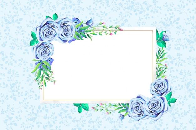 モダンな水彩花のフレーム