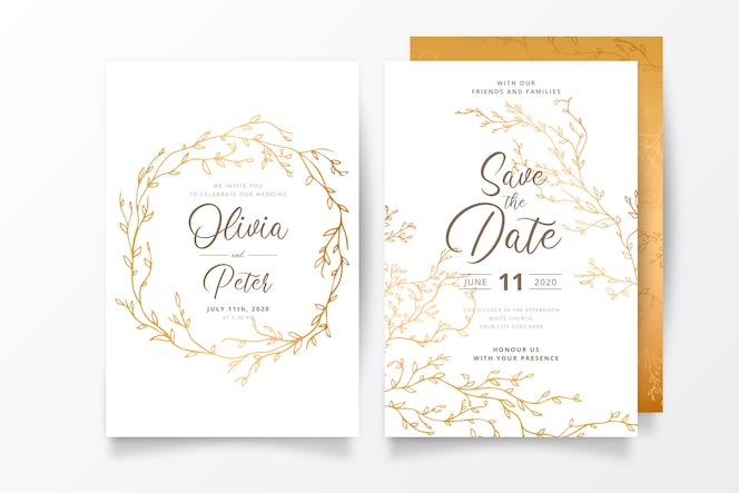 黄金の枝を持つ結婚式の招待状のテンプレート