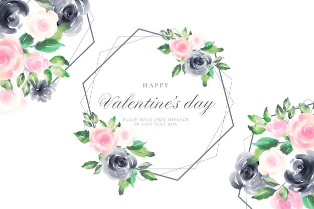 水彩花のロマンチックなバレンタインデーの背景