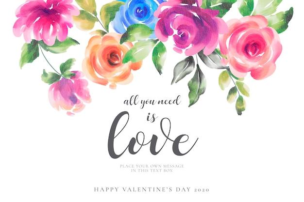 色とりどりの花でロマンチックなバレンタインデーの背景