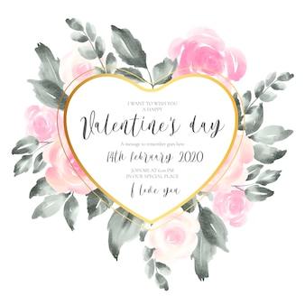 柔らかいピンクの花とバレンタインの招待状