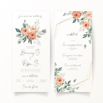 花の結婚式の招待状とメニューテンプレート