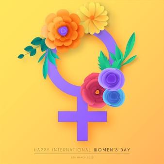 切り絵の花とカラフルな女性の日の背景