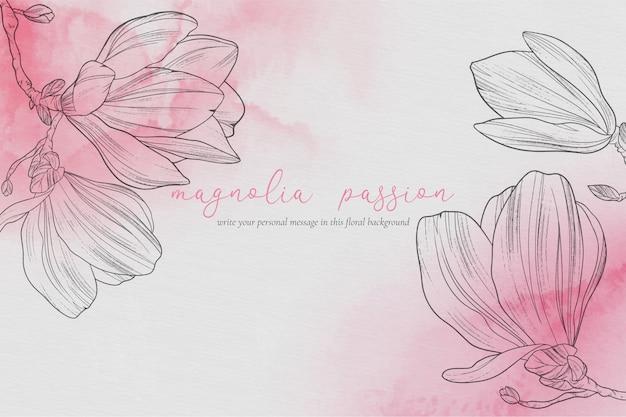 マグノリアと美しい花の背景