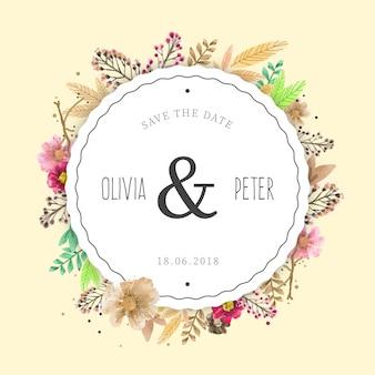 Цветочная свадебная рамка