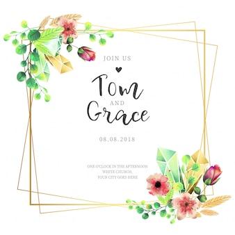 エレガントなフレームの結婚式招待状と水彩花