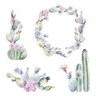 水彩サボテンのフレームと花束