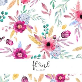 水彩の花のパターン