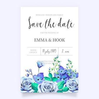 青い花の結婚式招待状
