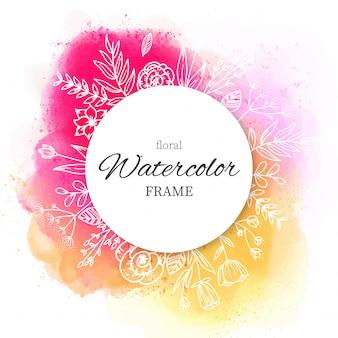 水彩スプラッターと手描きの花のフレーム