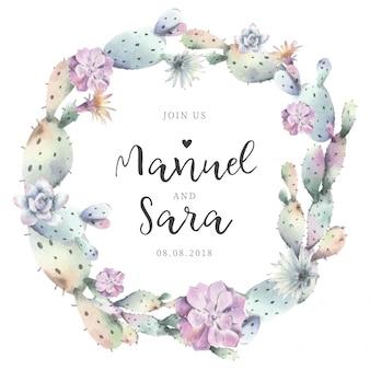 結婚式招待状のための素敵なサボテンのフレーム