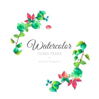 水彩スタイルの美しい花のフレーム