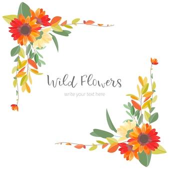 かわいいビンテージフレームとカラフルな花
