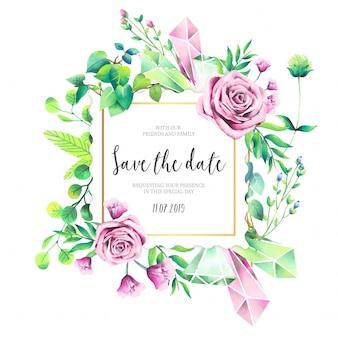 ピンクのバラと美しい結婚式の招待状