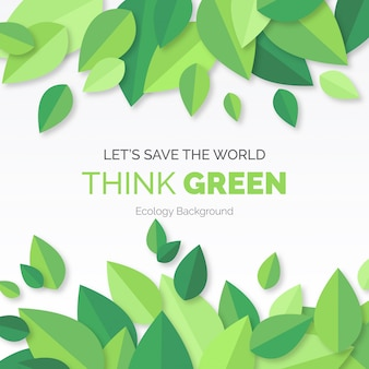 Думайте зеленый современный фон с листьями