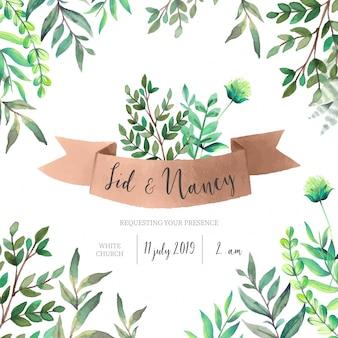 緑の葉の結婚式招待状