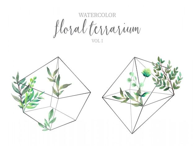 緑の葉が付いている花のテラリウム