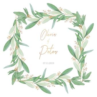オリーブの葉を持つ素敵な結婚式のフレーム
