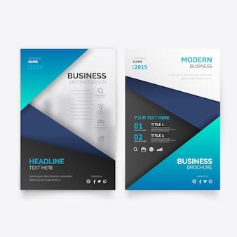 青い形のエレガントなビジネスパンフレットテンプレート