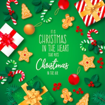 Рождественский фон с подарками и цитатой