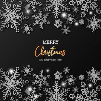 シルバースノーフレークとエレガントなクリスマスの背景