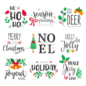 Рождественские значки с прекрасными ручными элементами и котировками