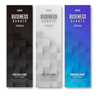Современный бизнес-баннер с геометрическими кубами
