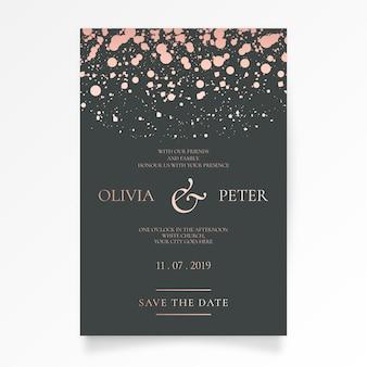 優雅な結婚式招待状ゴールデンスプラッシュ