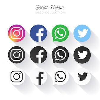 Популярная коллекция логотипов социальных медиа в кругах