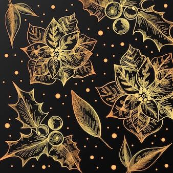 ビンテージの花とクリスマスのパターン