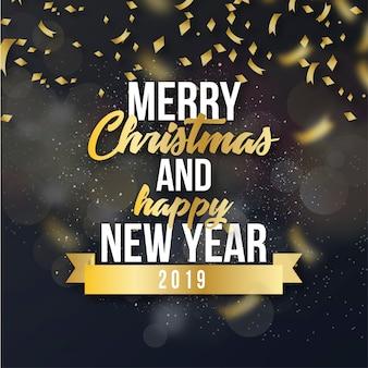 ゴールデン紙吹雪とメリークリスマスの背景