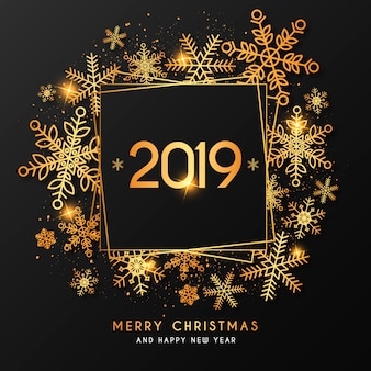 Элегантный новогодний фон с золотой рамкой