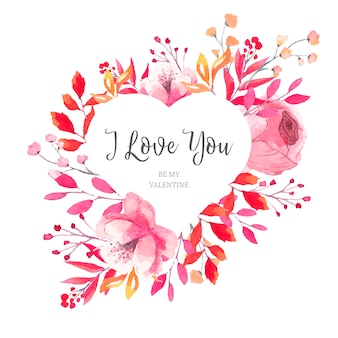 水彩の葉と花のバレンタインのハートフレーム