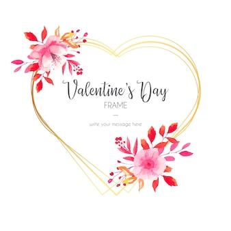 ゴールデンフレームと美しいバレンタインデーの招待状
