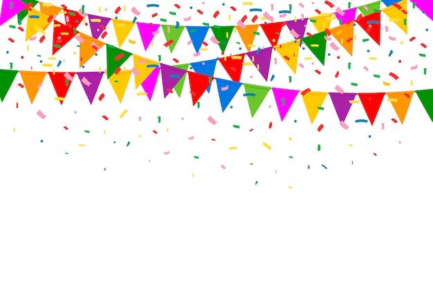 お祝い、カラフルなパーティーフラグ、紙吹雪。