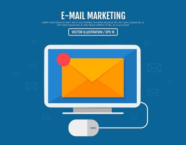 Концепция маркетинга электронной почты. отправка и получение электронных смс сообщений. письмо на экране компьютера. векторная иллюстрация