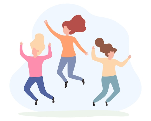 Молодые счастливые подружки прыжки. концепция дружбы и здорового образа жизни.