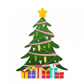 Украшенная елка с подарками. звезды, украшения шарами и гирляндами огней. векторная иллюстрация изолированных