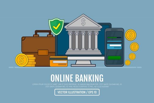 Концепция интернет-банкинга. веб-элемент для интернет-банкинга. векторные иллюстрации в линии арт дизайн.