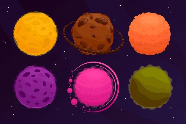 宇宙の惑星を設定します。カラフルなファンタジー小惑星と黒の惑星。イラスト。
