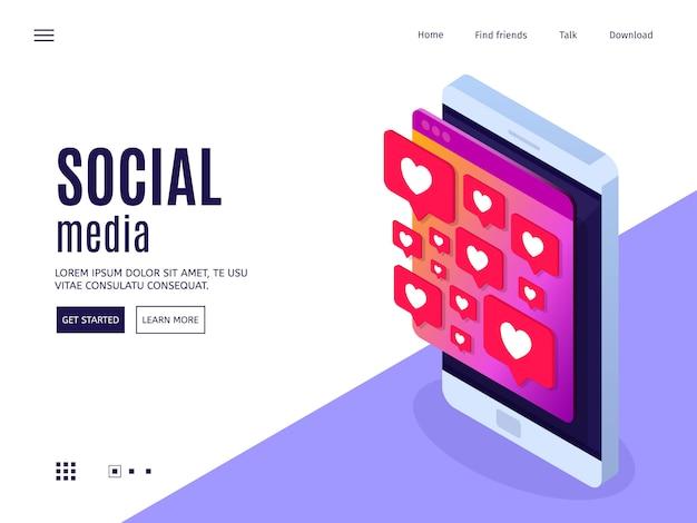 Концепция социальных медиа. мобильный телефон с сообщением лайков.