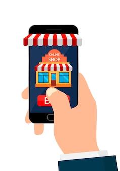 アプリモバイルショッピングでスマートフォンを持っている手。白い背景で隔離されました。オンラインショッピング。モバイルショッピングのコンセプトです。ベクトルイラスト。