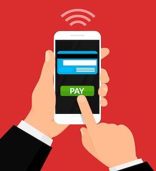 ワイヤレス決済イラスト。お金の取引、モバイルバンキング、モバイル決済。ベクトルイラスト。